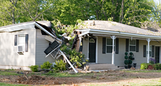 House damaged by storm